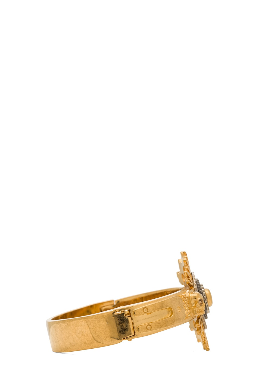 Image 2 of Alexander McQueen Flower Bracelet with Swarovski Crystals in Gold