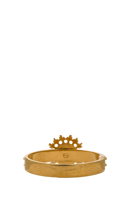 Image 3 of Alexander McQueen Flower Bracelet with Swarovski Crystals in Gold