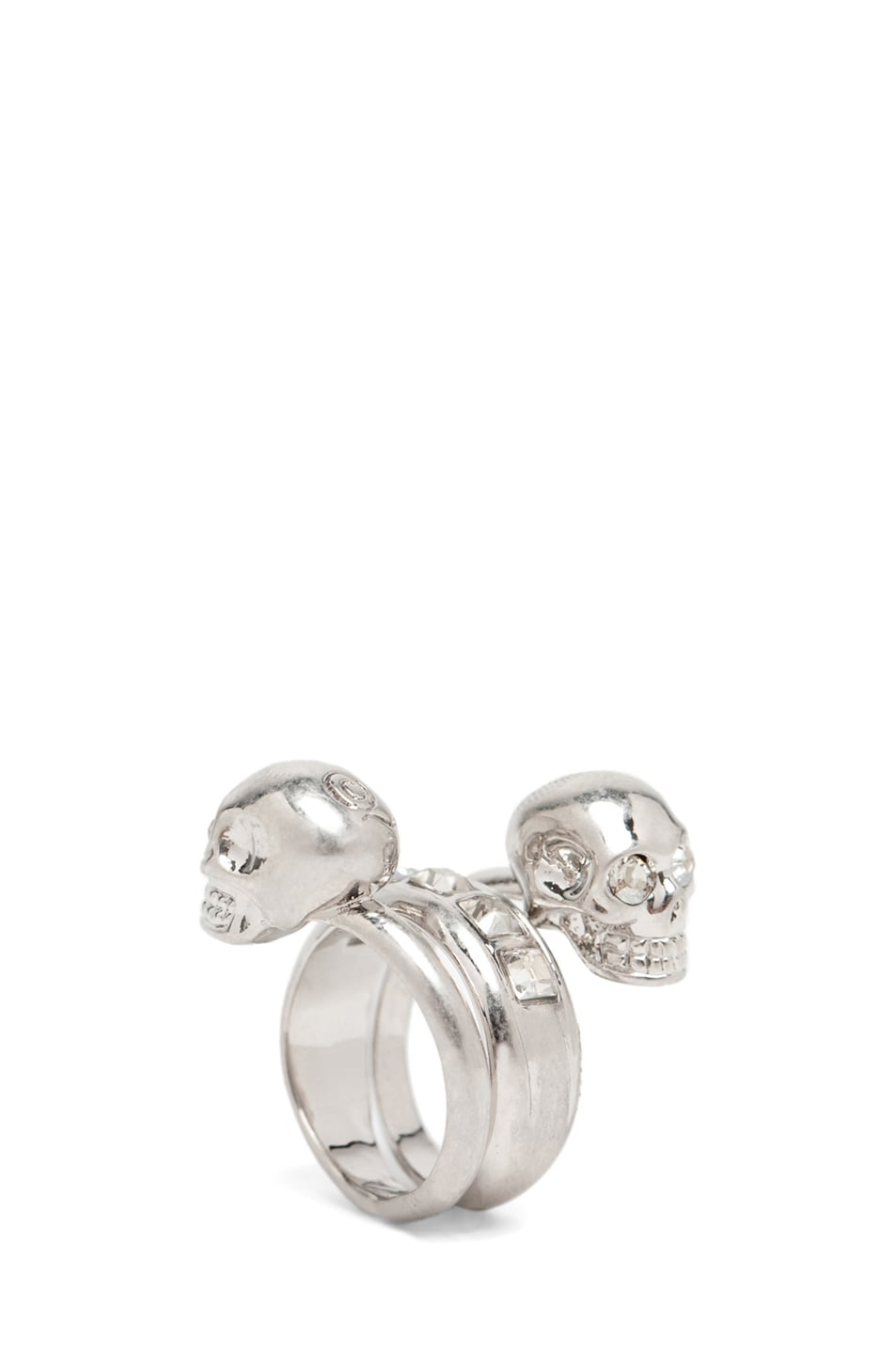 Image 1 of Alexander McQueen Skull Wrapping Twin Ring in Crystal/Silver