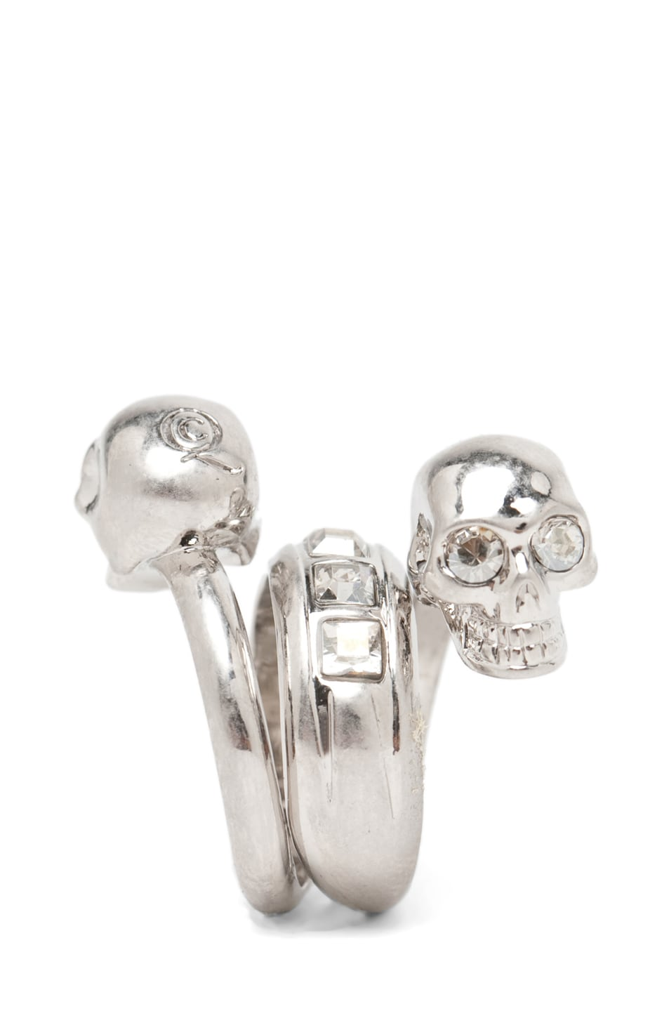Image 2 of Alexander McQueen Skull Wrapping Twin Ring in Crystal/Silver