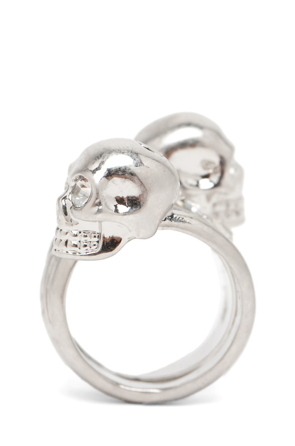 Image 3 of Alexander McQueen Skull Wrapping Twin Ring in Crystal/Silver