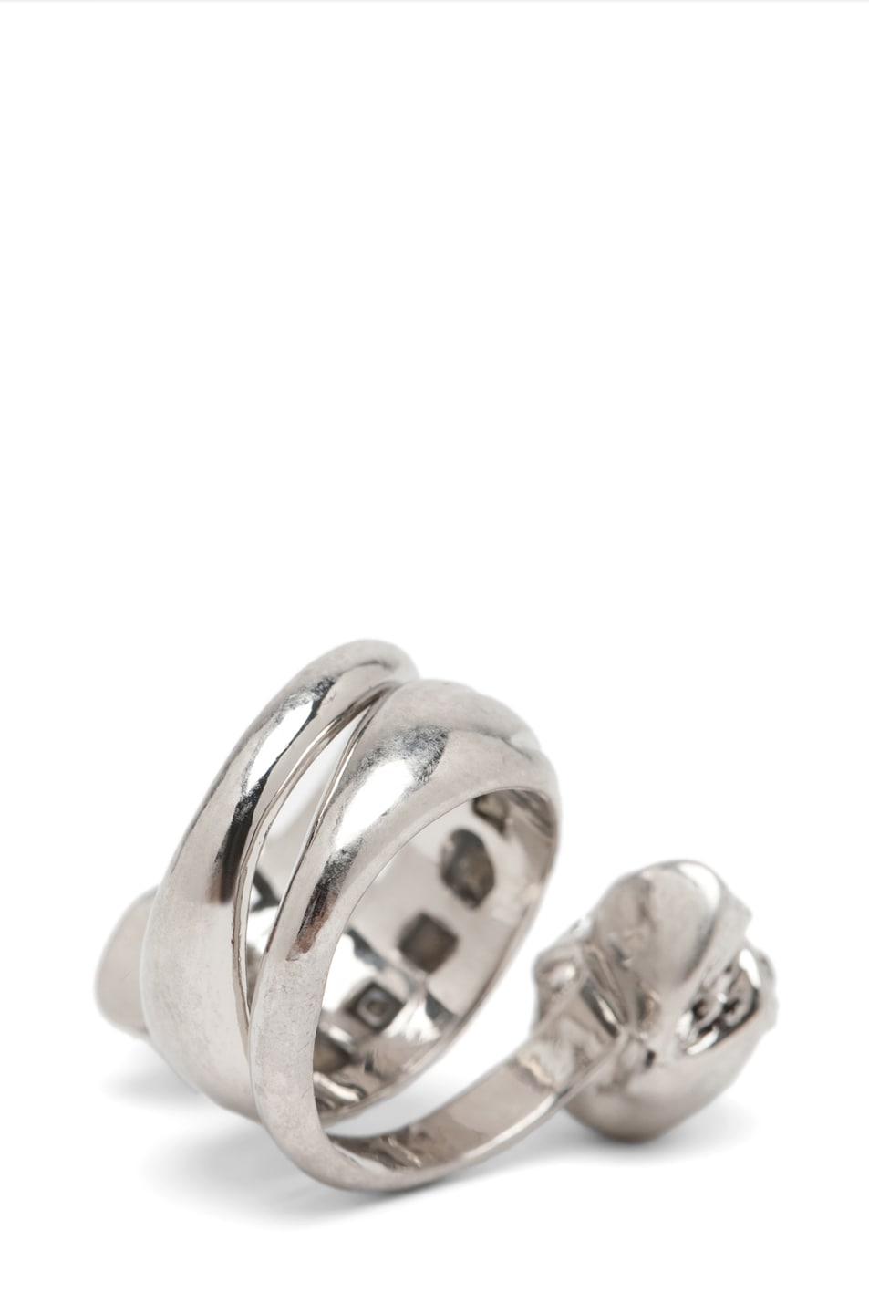Image 4 of Alexander McQueen Skull Wrapping Twin Ring in Crystal/Silver