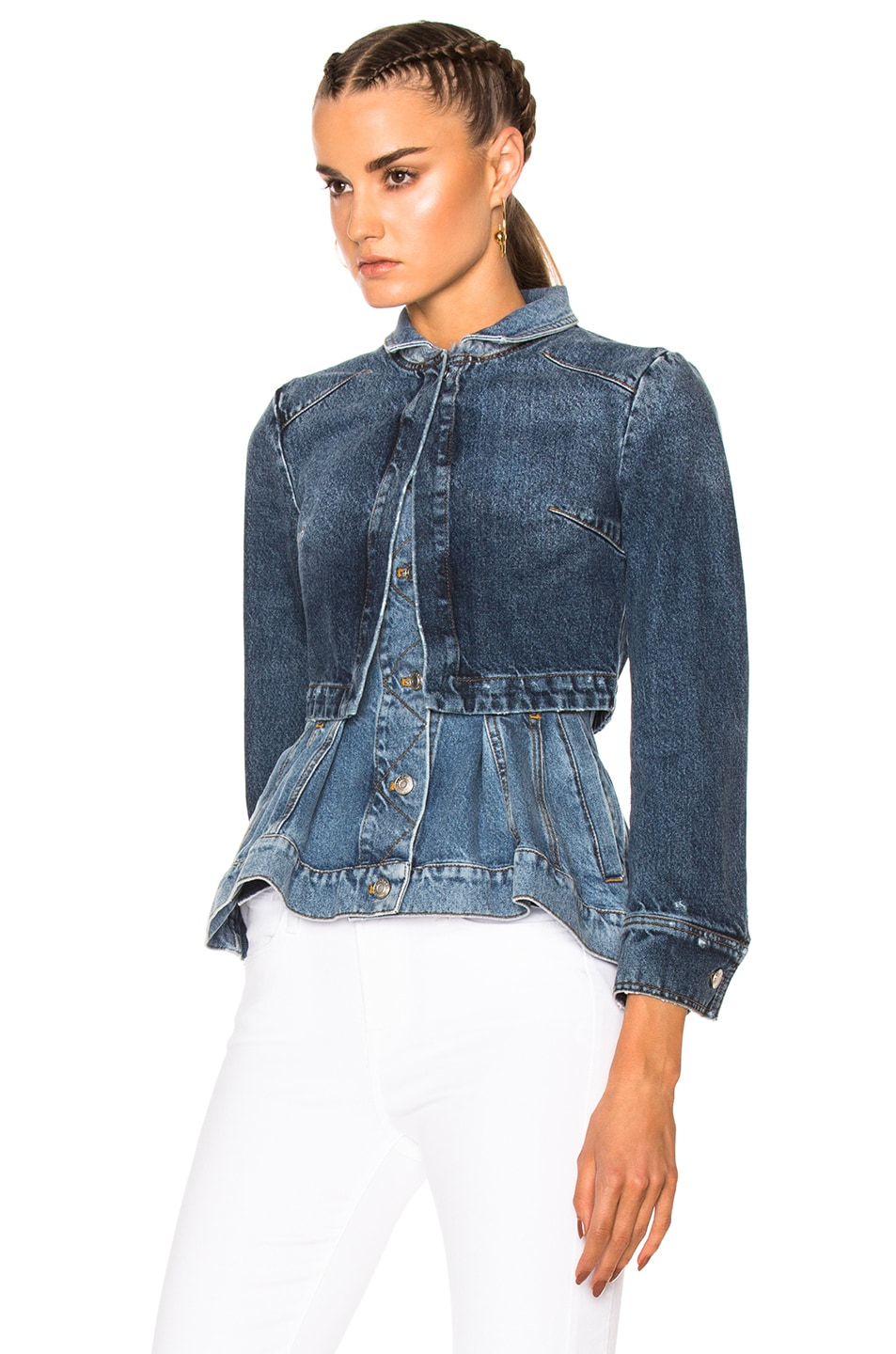 ALEXANDER MCQUEEN Double Layered Peplum Denim Jacket in ...