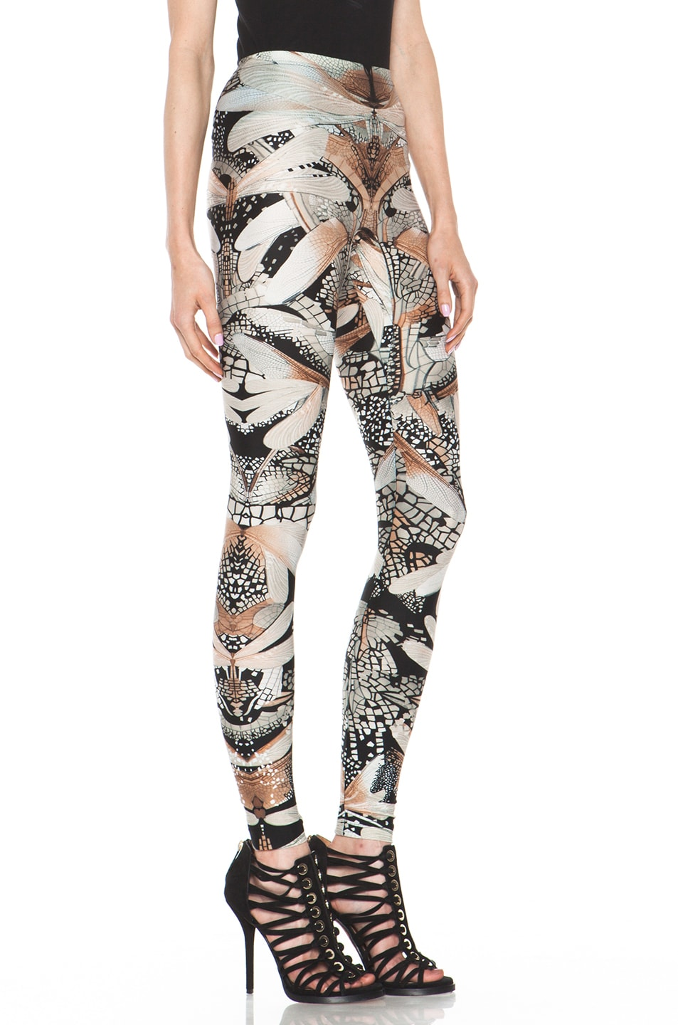 Image 3 of Alexander McQueen Dragonfly Flower Legging in Black & Grey