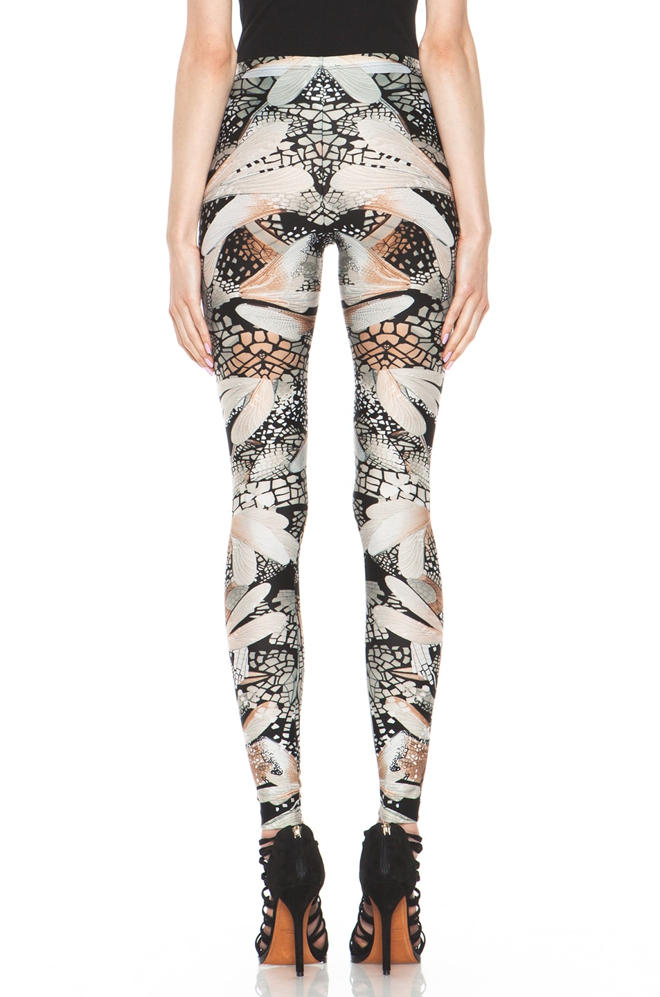 Image 4 of Alexander McQueen Dragonfly Flower Legging in Black & Grey