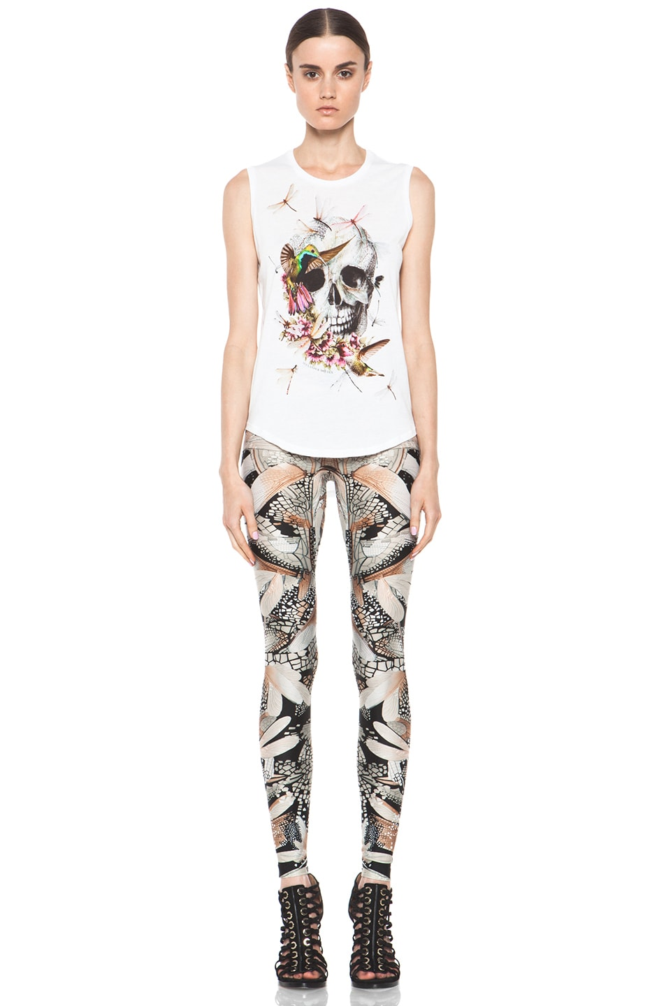 Image 5 of Alexander McQueen Dragonfly Flower Legging in Black & Grey