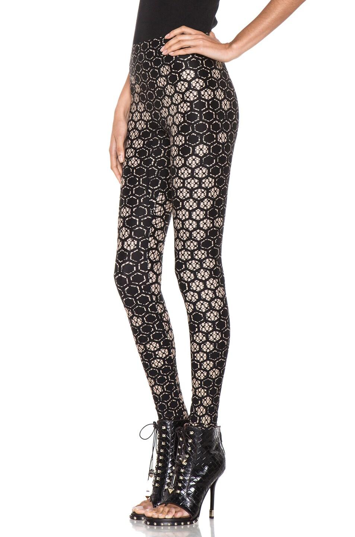 Image 2 of Alexander McQueen Honeycomb Legging in Flesh & Black