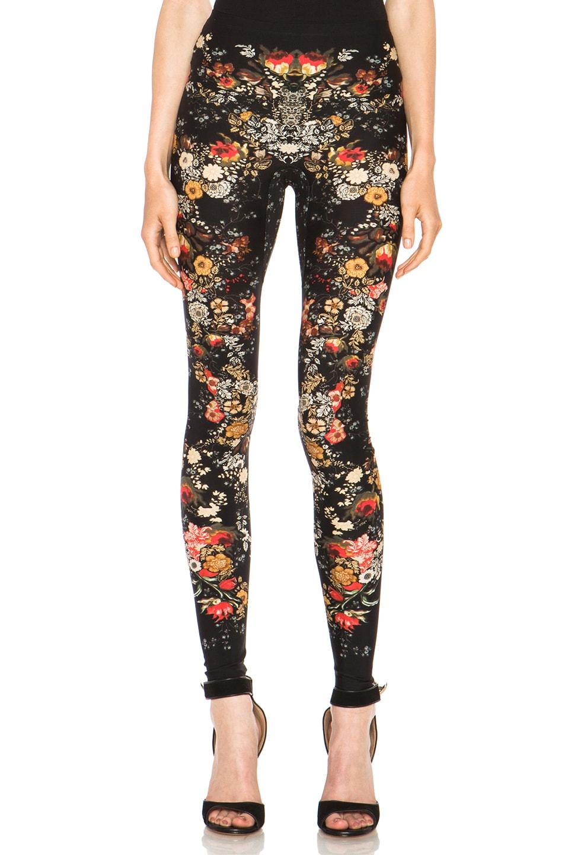 Image 1 of Alexander McQueen Floral Print Viscose-Blend Legging in Black