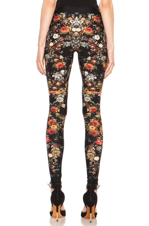 Image 4 of Alexander McQueen Floral Print Viscose-Blend Legging in Black