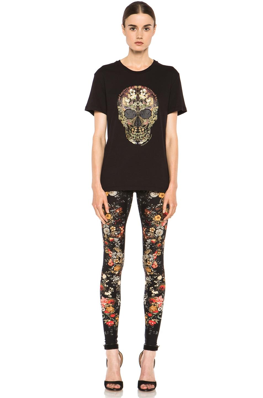 Image 5 of Alexander McQueen Floral Print Viscose-Blend Legging in Black
