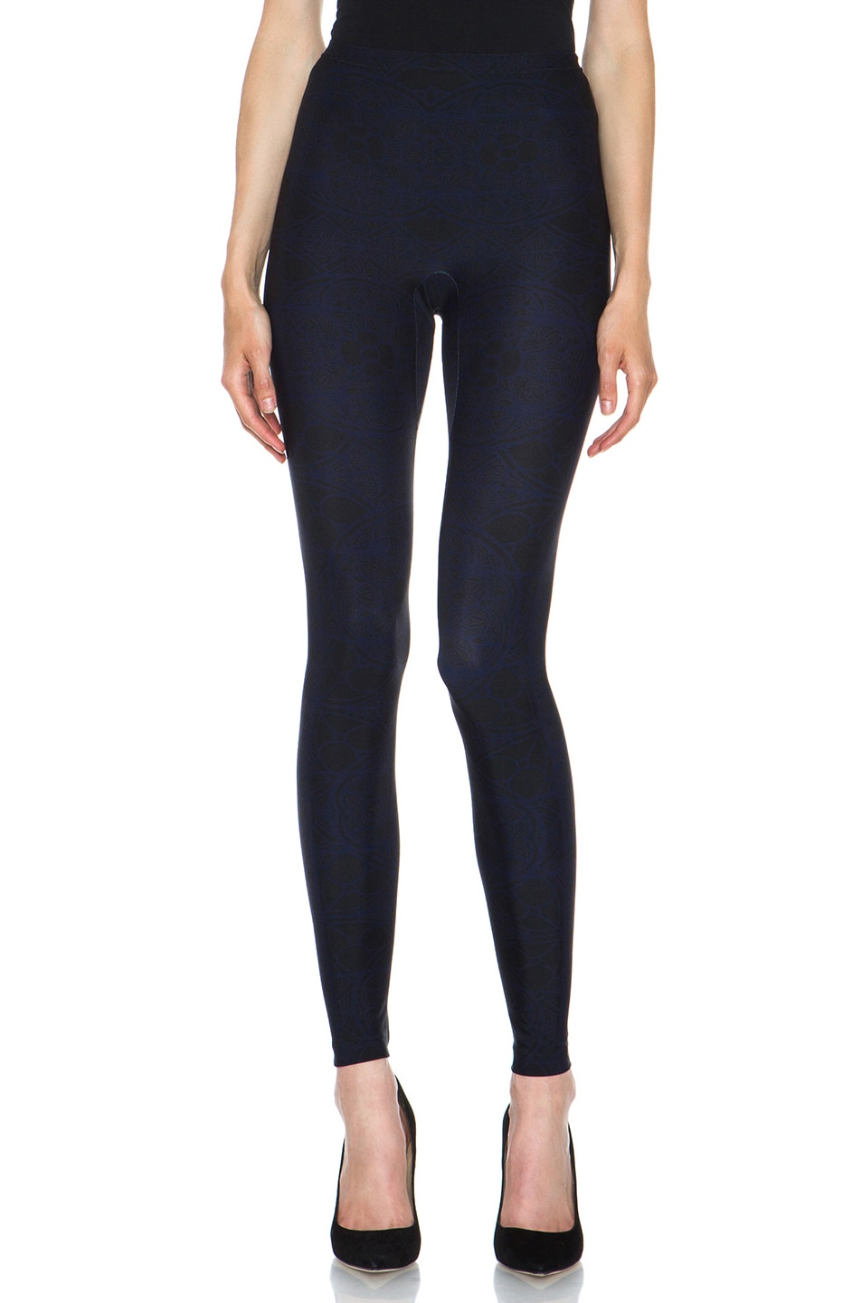 Image 1 of Alexander McQueen Stained Glass Print Nylon-Blend Legging in Navy & Black