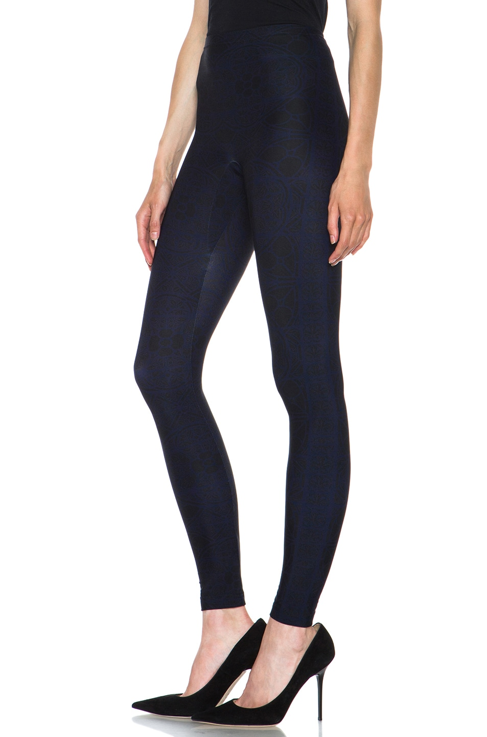 Image 2 of Alexander McQueen Stained Glass Print Nylon-Blend Legging in Navy & Black