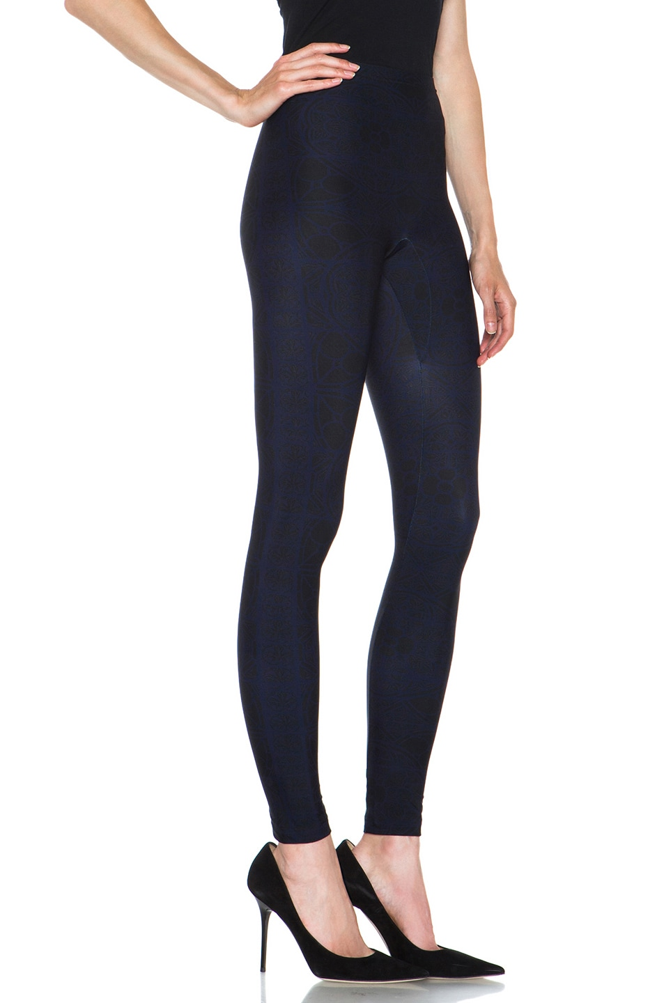 Image 3 of Alexander McQueen Stained Glass Print Nylon-Blend Legging in Navy & Black
