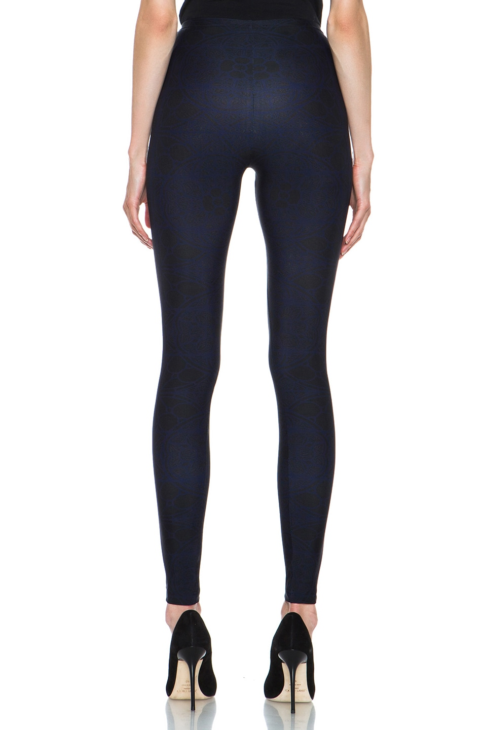 Image 4 of Alexander McQueen Stained Glass Print Nylon-Blend Legging in Navy & Black