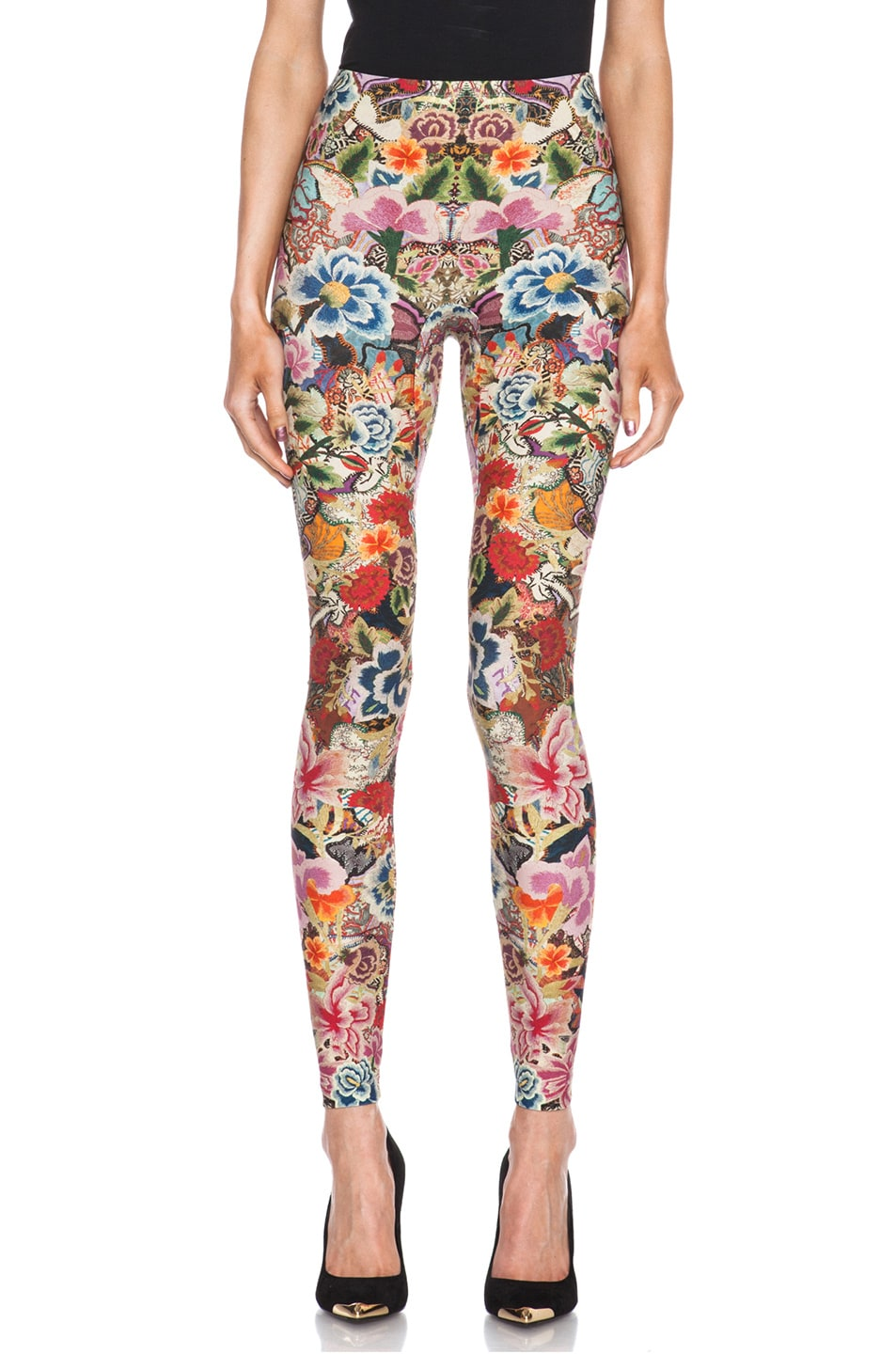 Image 1 of Alexander McQueen Print Polyamide-Blend Legging in Red Floral