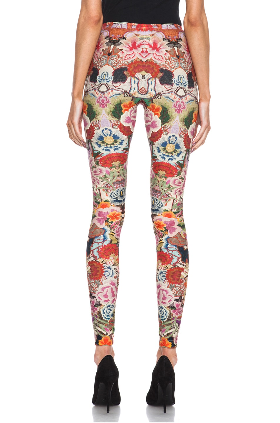 Image 4 of Alexander McQueen Print Polyamide-Blend Legging in Red Floral