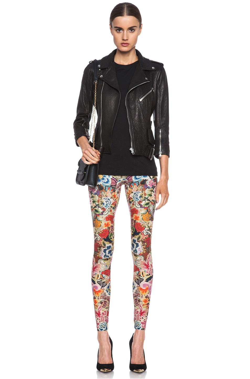 Image 5 of Alexander McQueen Print Polyamide-Blend Legging in Red Floral