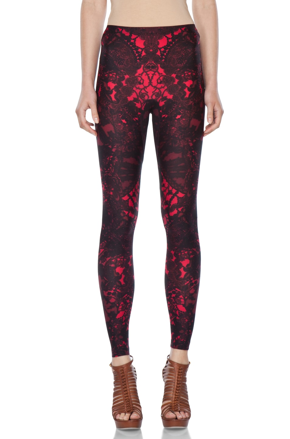 Image 1 of Alexander McQueen Victorian Lace Print Legging in Black Cherry