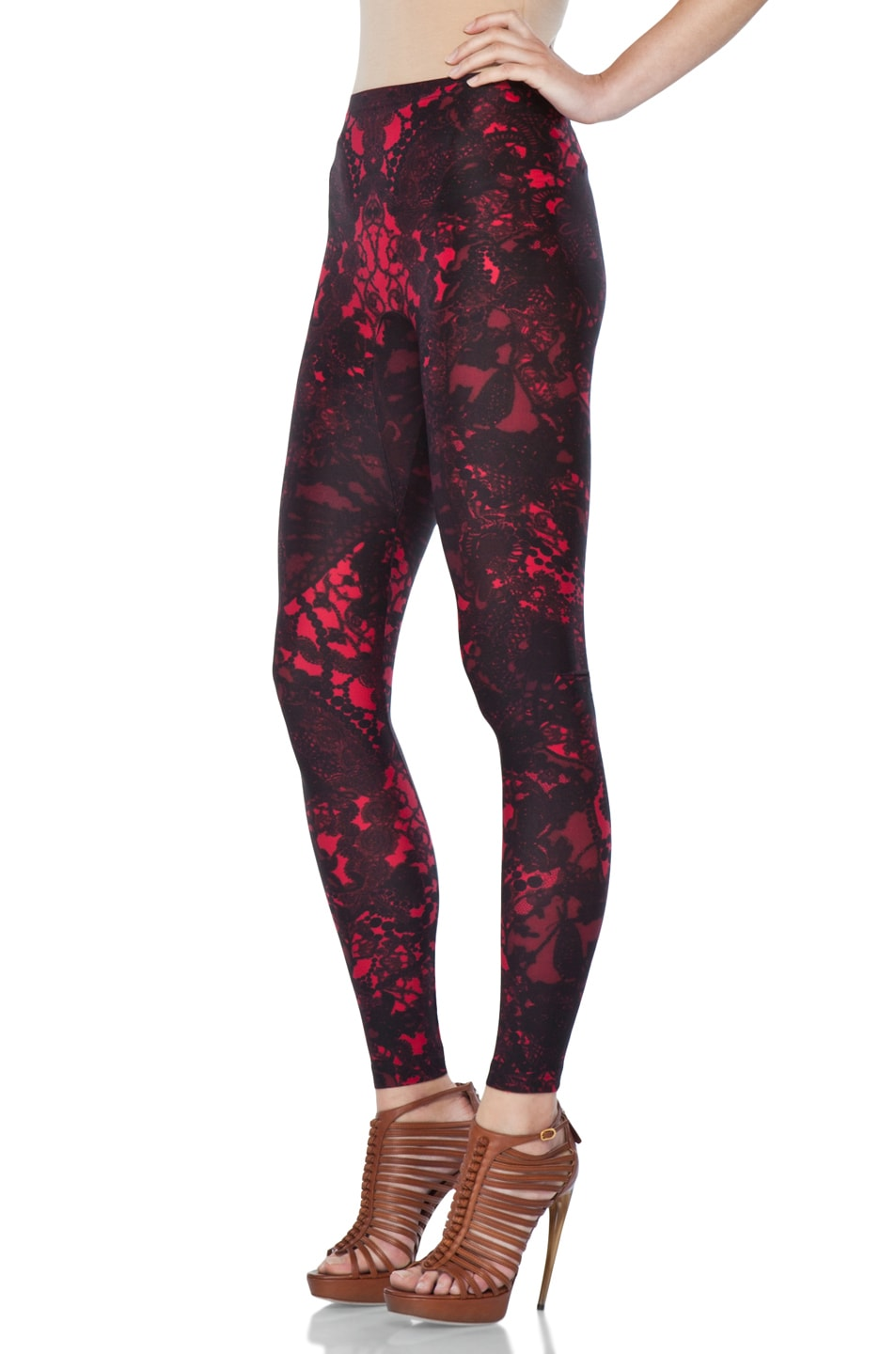 Image 2 of Alexander McQueen Victorian Lace Print Legging in Black Cherry