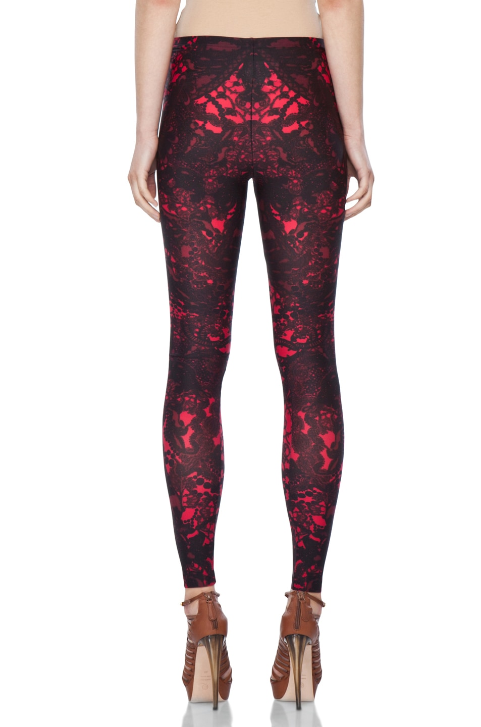 Image 4 of Alexander McQueen Victorian Lace Print Legging in Black Cherry