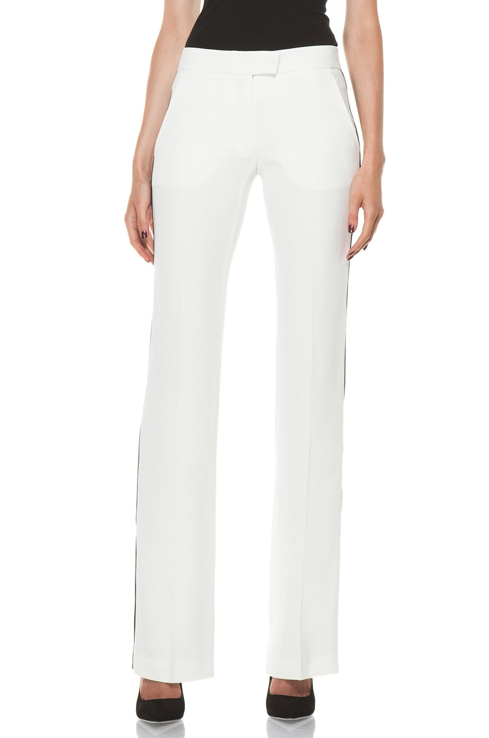 Image 2 of Alexander McQueen Narrow Viscose-Blend Tuxedo Trouser in Ivory