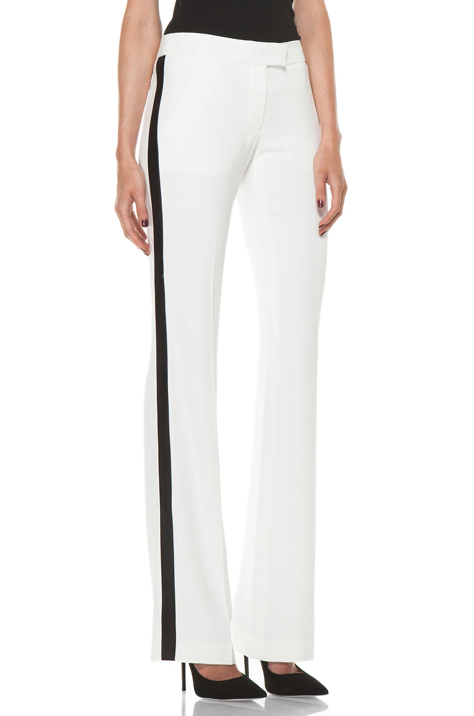 Image 3 of Alexander McQueen Narrow Viscose-Blend Tuxedo Trouser in Ivory