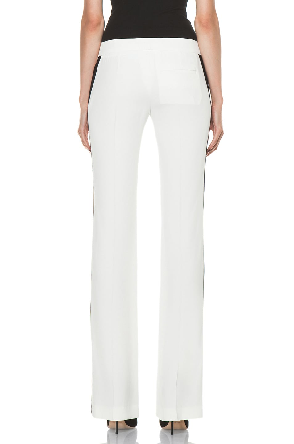 Image 4 of Alexander McQueen Narrow Viscose-Blend Tuxedo Trouser in Ivory