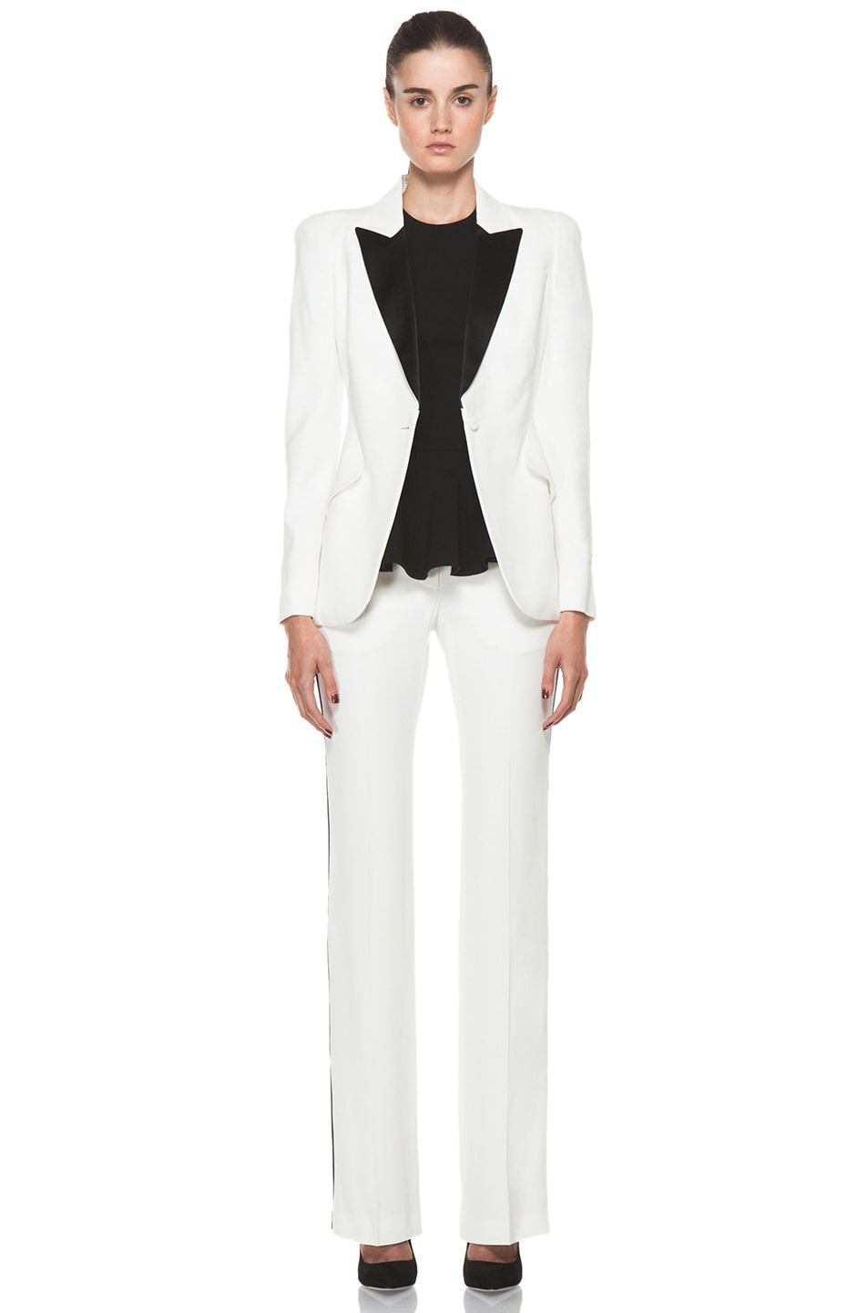 Image 5 of Alexander McQueen Narrow Viscose-Blend Tuxedo Trouser in Ivory