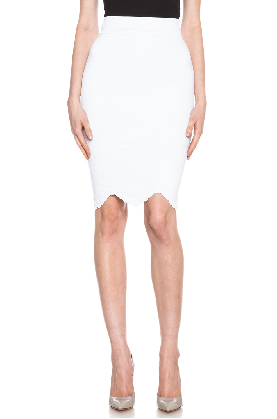 Image 1 of Alexander McQueen Embossed Knit Pencil Skirt in White