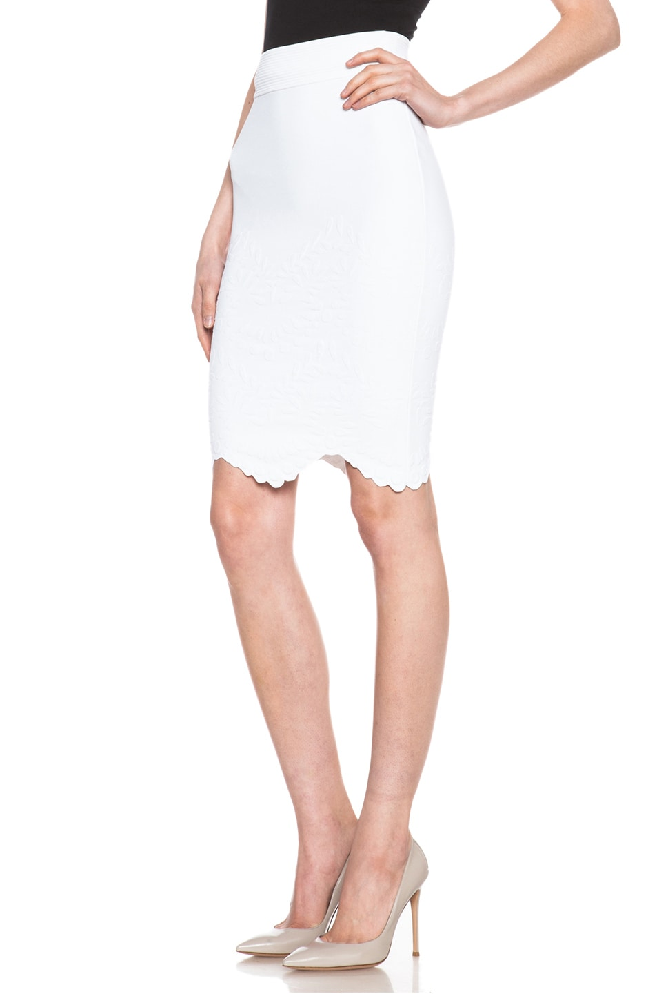 Image 2 of Alexander McQueen Embossed Knit Pencil Skirt in White