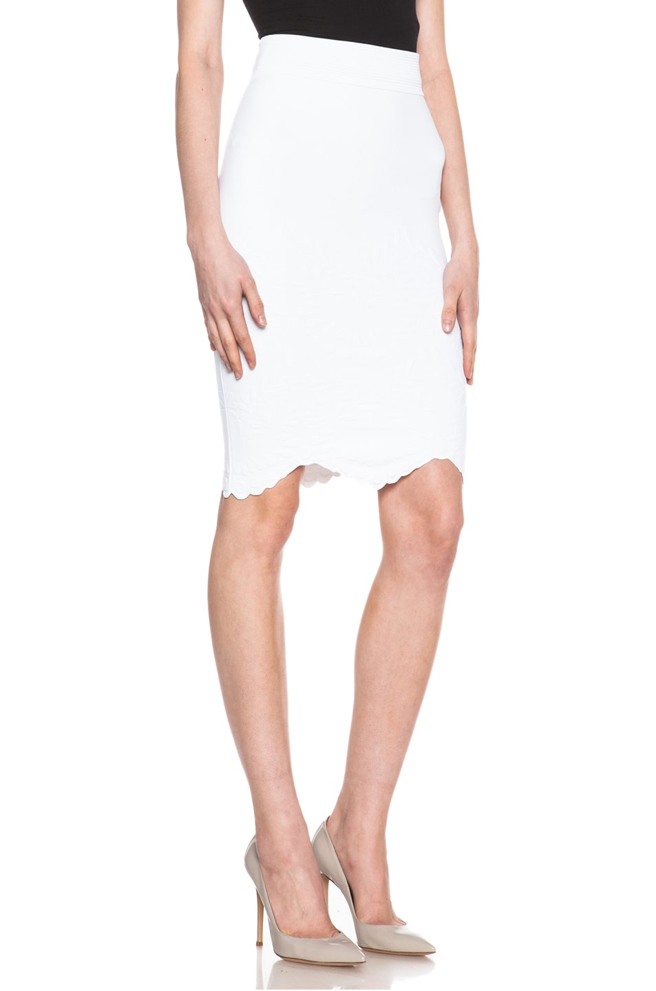 Image 3 of Alexander McQueen Embossed Knit Pencil Skirt in White