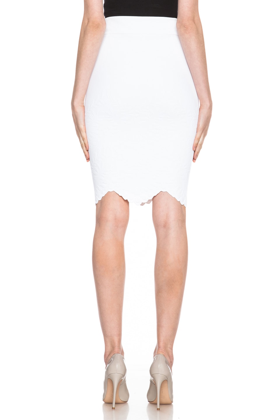 Image 4 of Alexander McQueen Embossed Knit Pencil Skirt in White