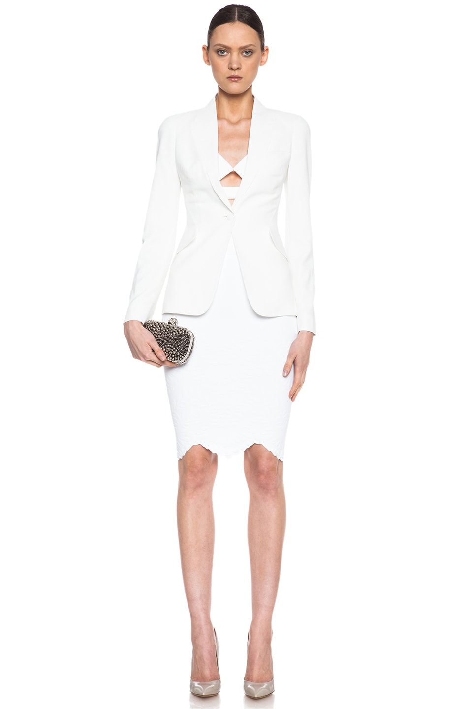 Image 5 of Alexander McQueen Embossed Knit Pencil Skirt in White