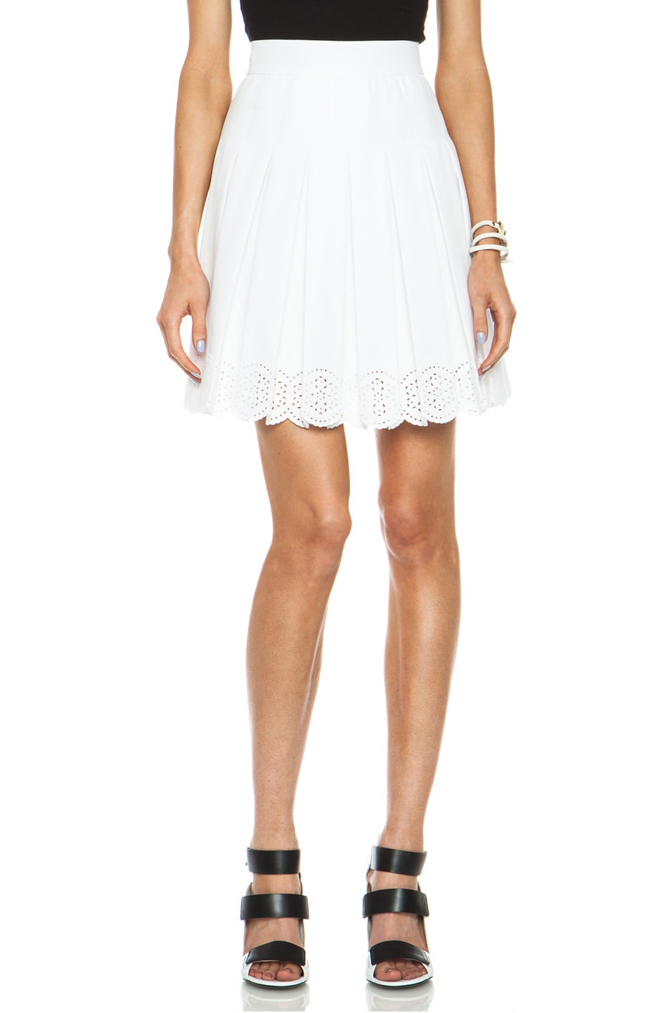 Image 1 of Alexander McQueen Sangallo Pleated Cotton-Blend Skirt in Optic White