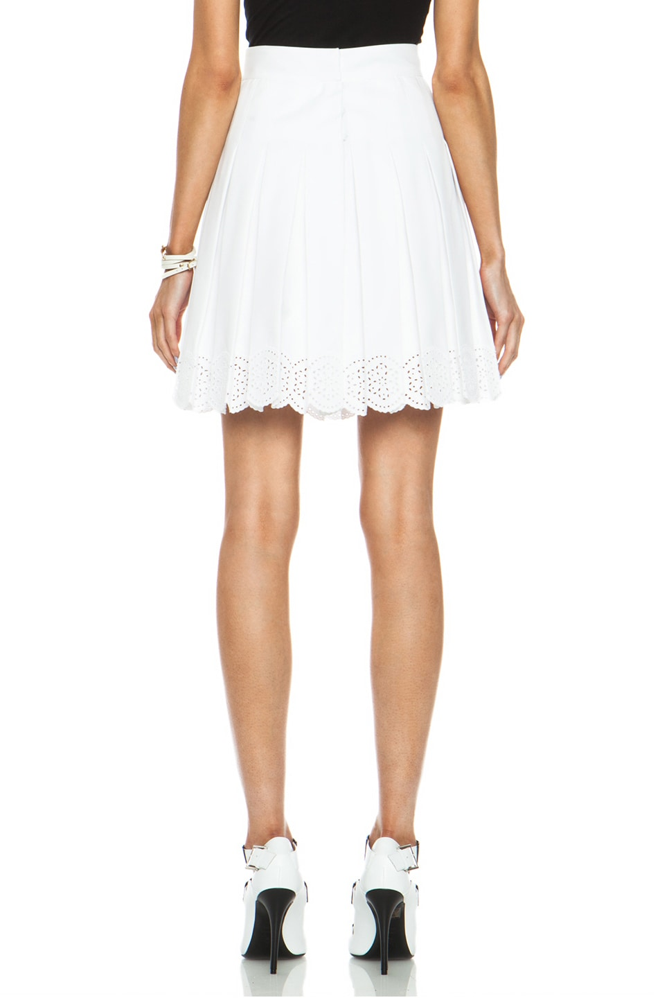 Image 4 of Alexander McQueen Sangallo Pleated Cotton-Blend Skirt in Optic White