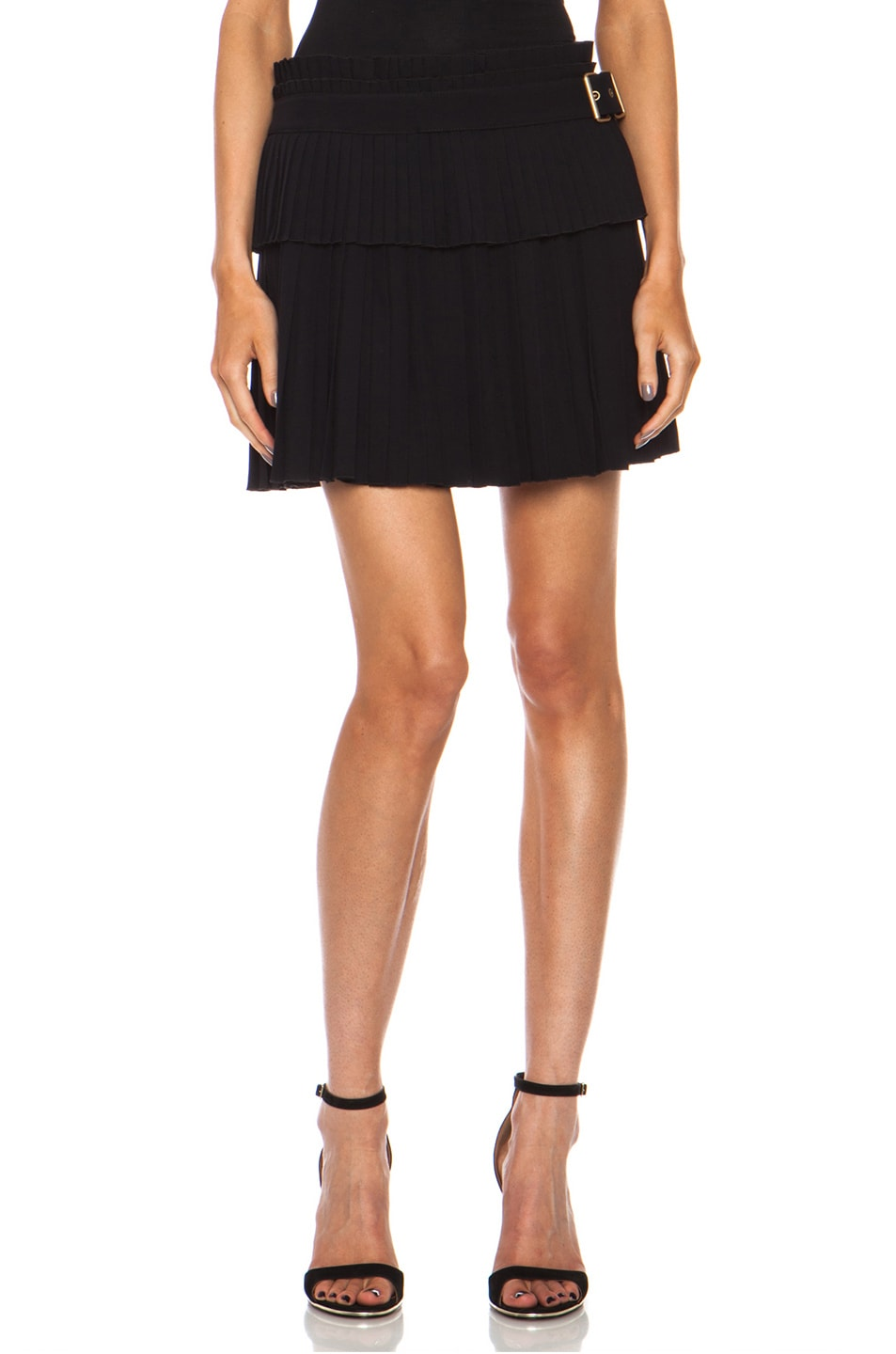 Image 1 of Alexander McQueen Pleated Acetate-Blend Skirt in Black