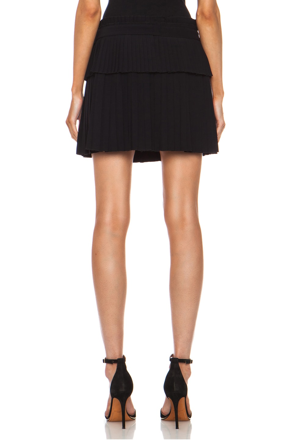 Image 4 of Alexander McQueen Pleated Acetate-Blend Skirt in Black
