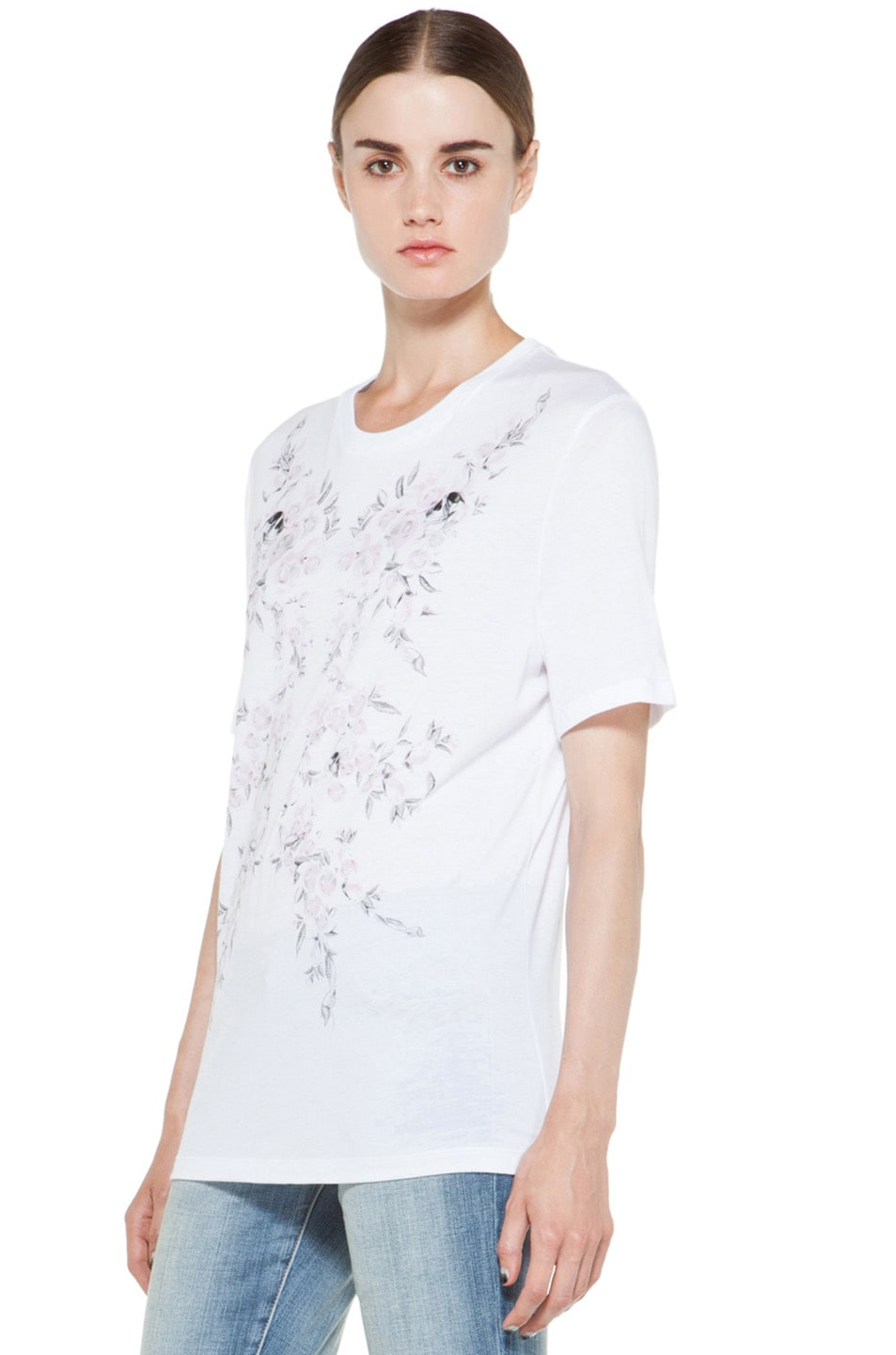 Image 3 of Alexander McQueen Roses Tee in White