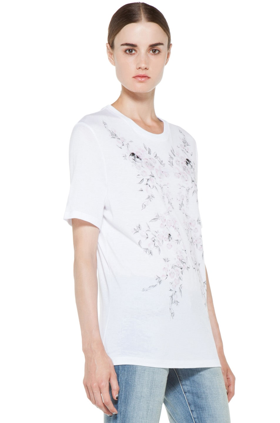 Image 4 of Alexander McQueen Roses Tee in White