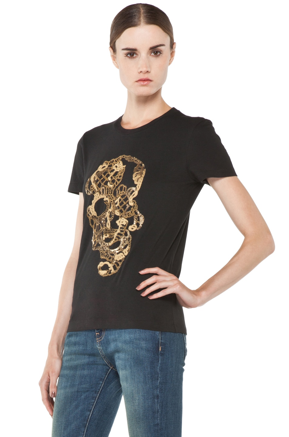 Image 2 of Alexander McQueen Beaded Skull Tee in Black