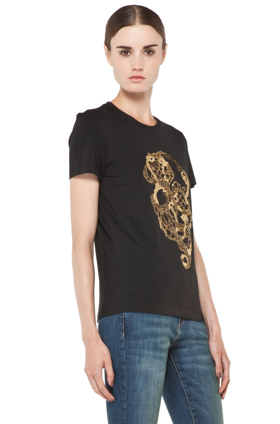 Image 3 of Alexander McQueen Beaded Skull Tee in Black