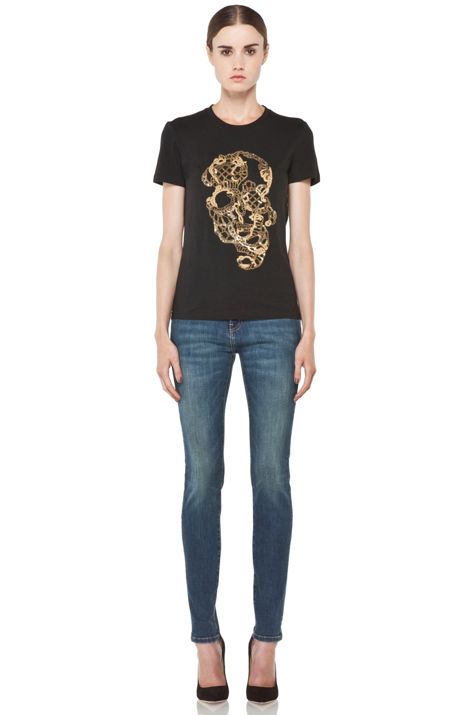 Image 5 of Alexander McQueen Beaded Skull Tee in Black