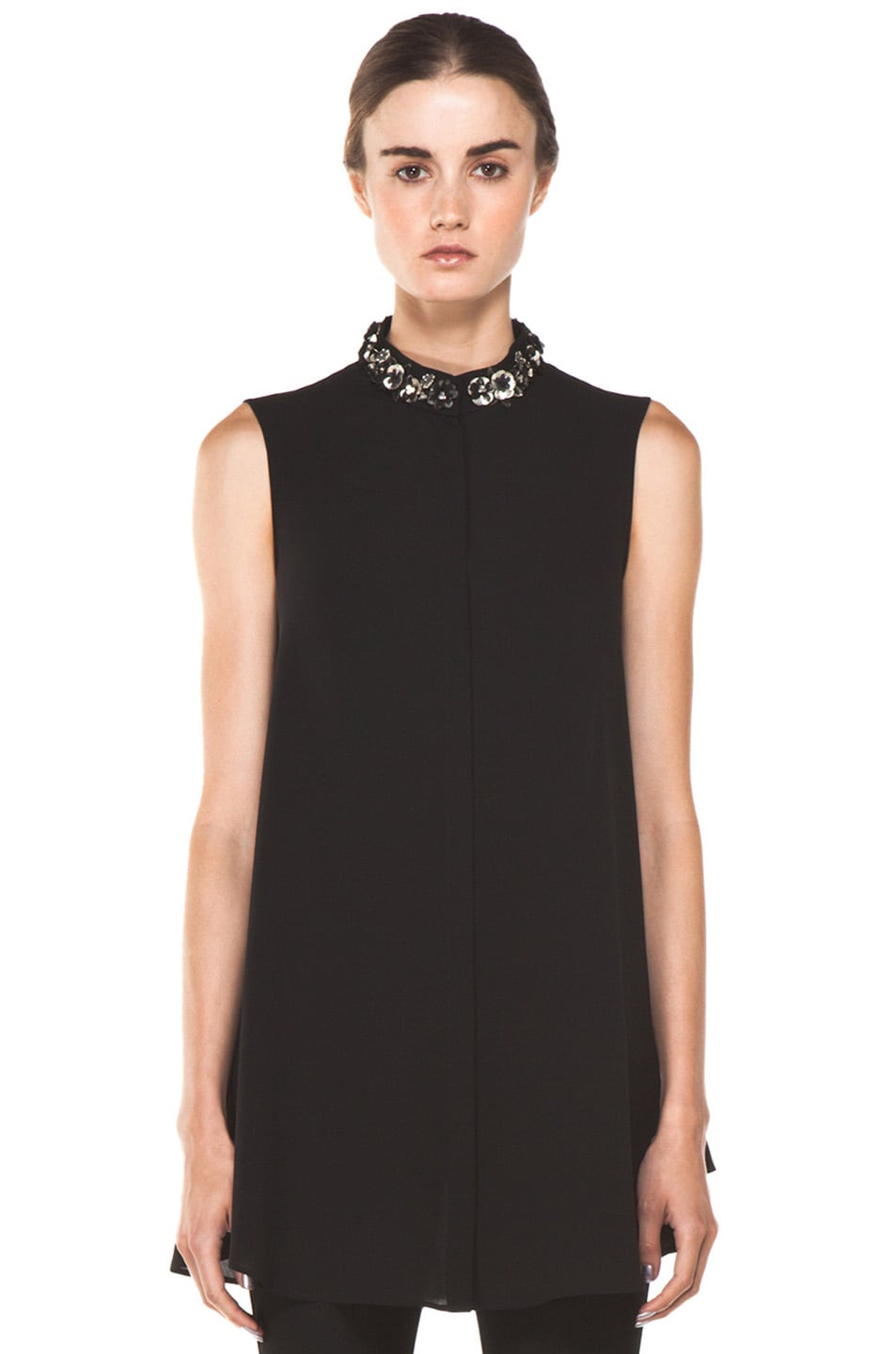 Image 1 of Alexander McQueen Flower Neck Silk Blouse in Black