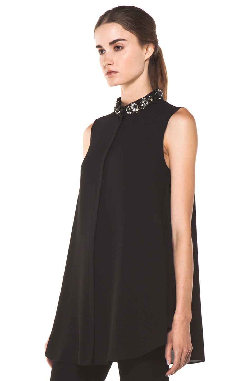 Image 2 of Alexander McQueen Flower Neck Silk Blouse in Black
