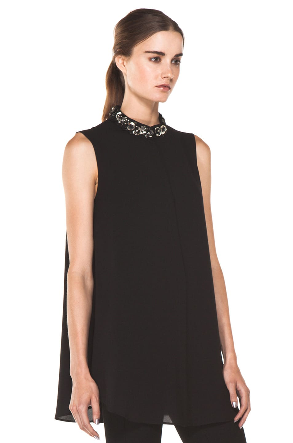 Image 3 of Alexander McQueen Flower Neck Silk Blouse in Black