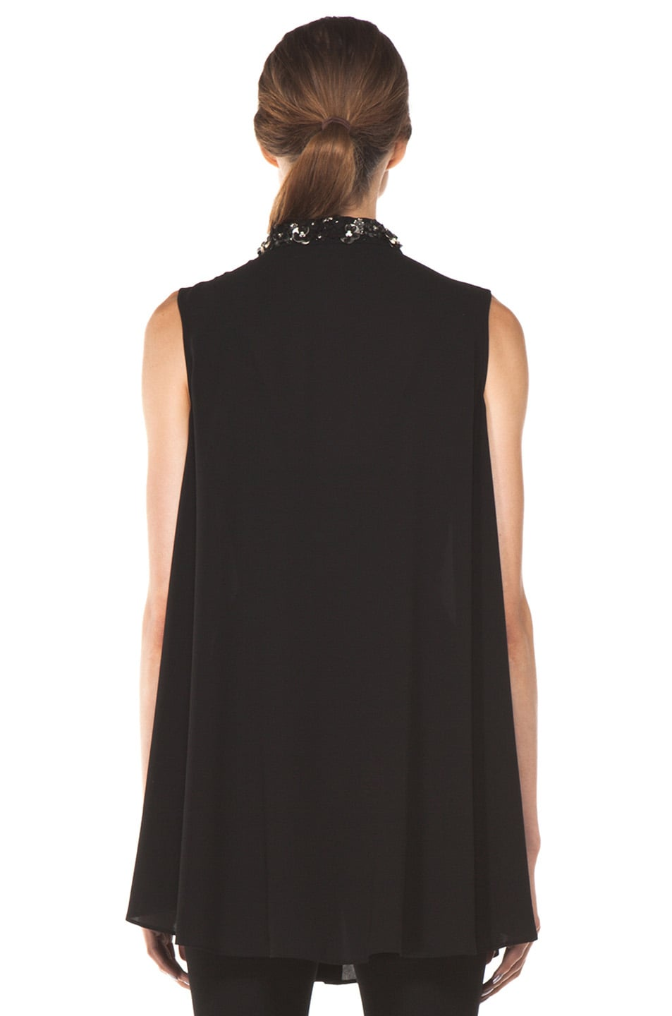 Image 4 of Alexander McQueen Flower Neck Silk Blouse in Black