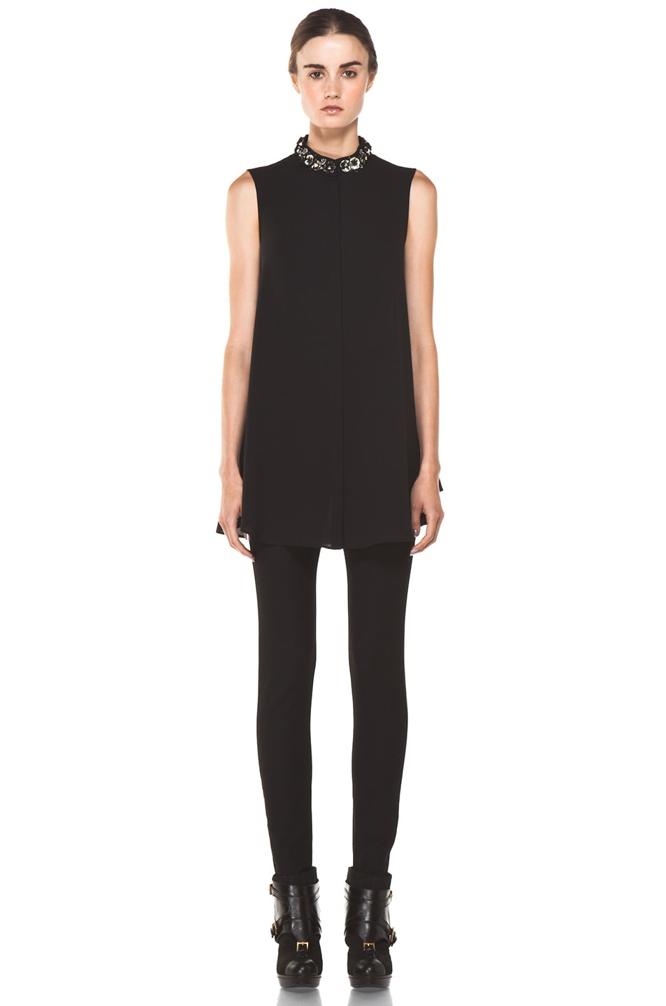 Image 5 of Alexander McQueen Flower Neck Silk Blouse in Black