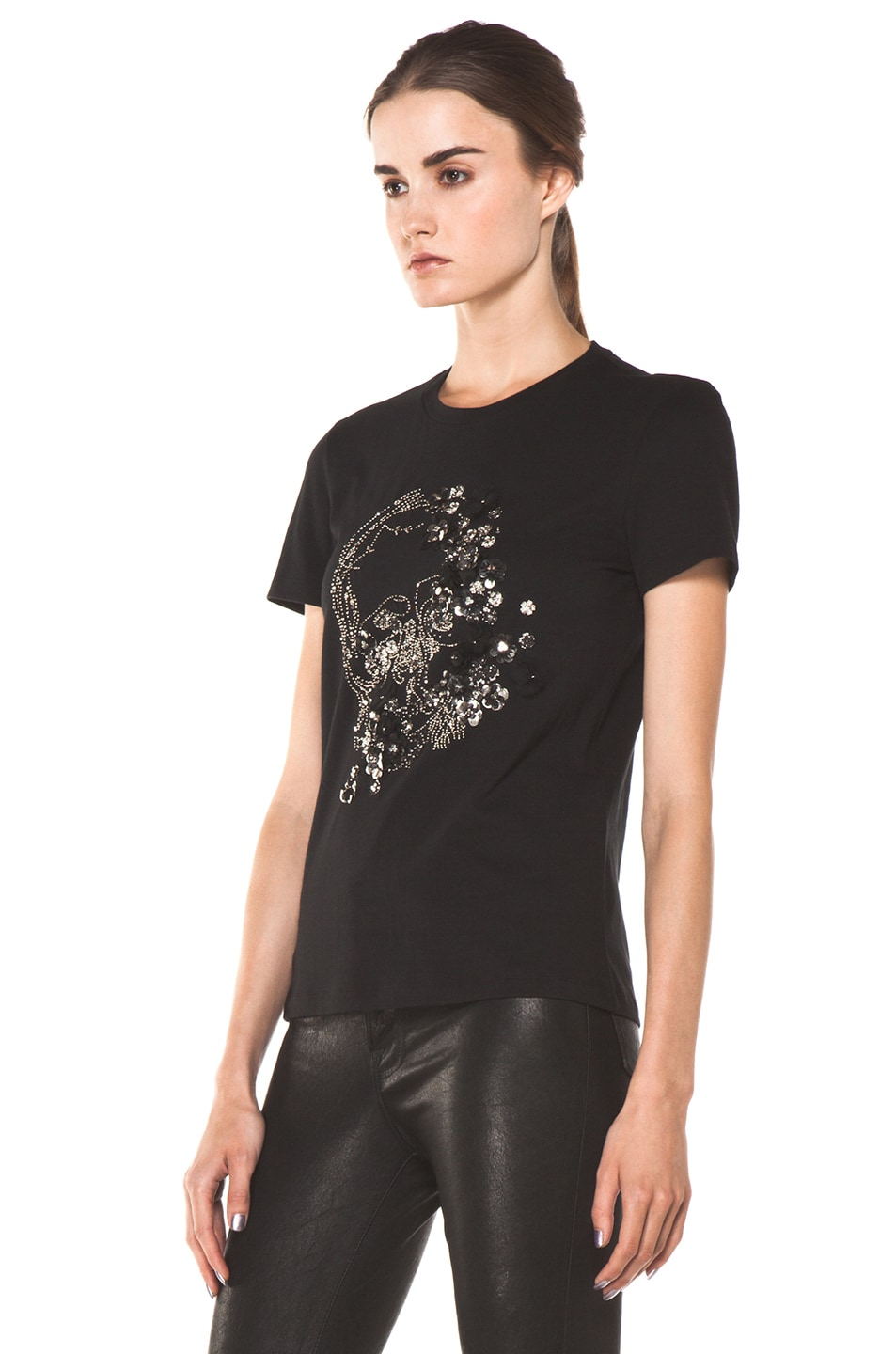 Image 2 of Alexander McQueen Embroidered Tee in Black