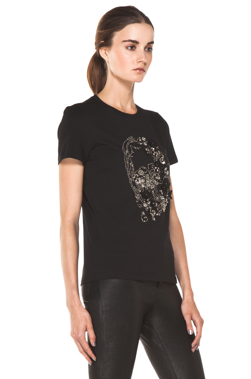 Image 3 of Alexander McQueen Embroidered Tee in Black