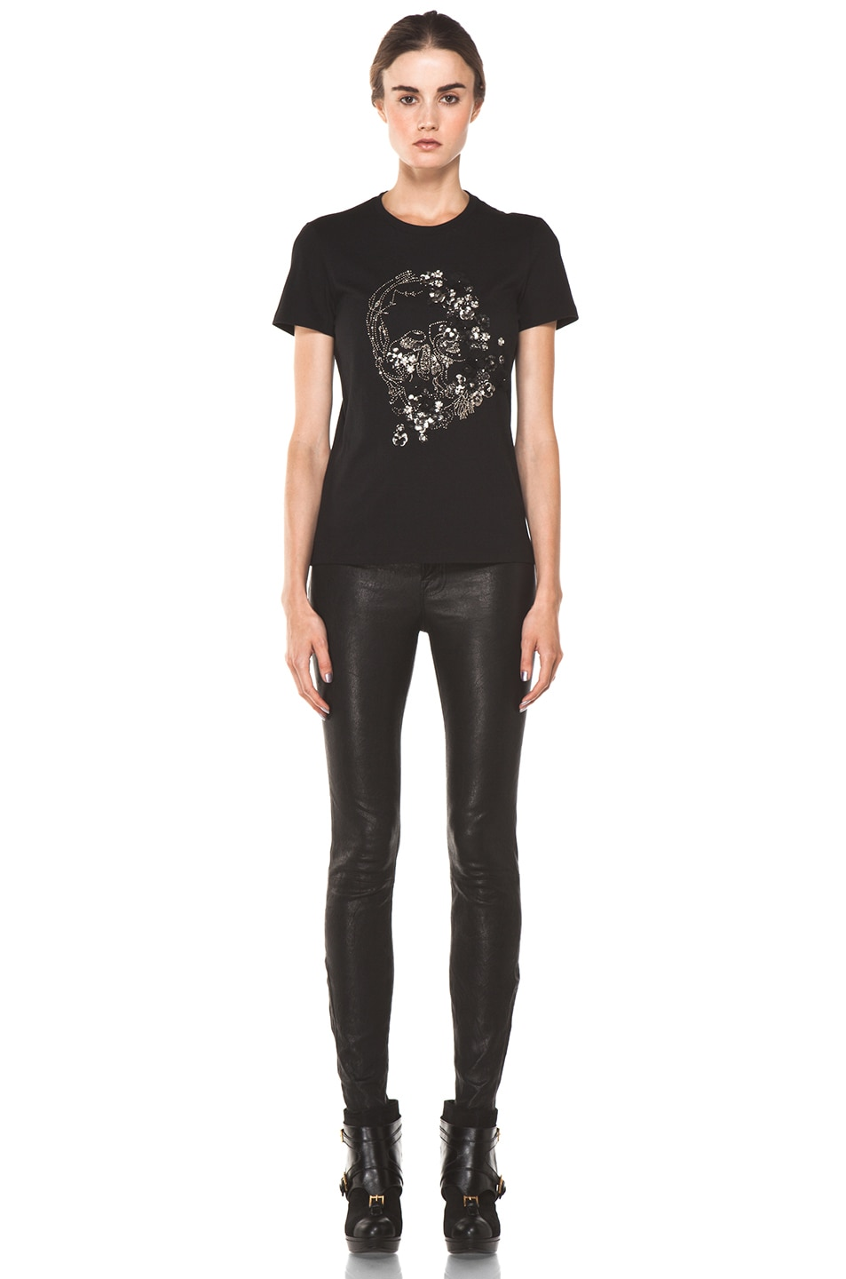 Image 5 of Alexander McQueen Embroidered Tee in Black
